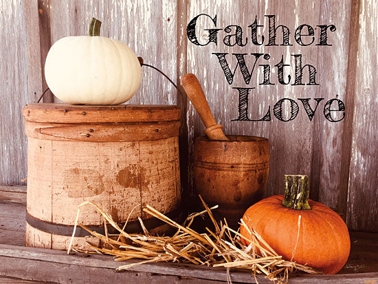Anthony Smith ANT148 - ANT148 - Gather with Love - 16x12 Signs, Typography, Photography, Autumn, Pumpkins, Mortar and Pestle, Hay from Penny Lane