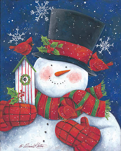 Diane Kater ART1029 - Cheery Snowman with Birdhouse - Snowman, Cardinal, Birdhouses, Top Hat, Scarf, Mittens, Holidays from Penny Lane Publishing