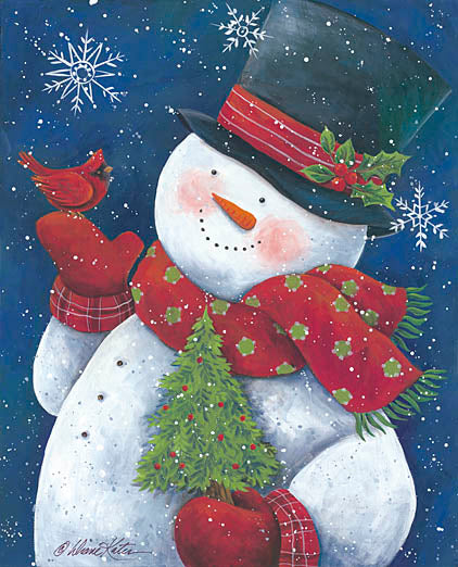 Diane Kater ART1030 - Cheery Snowman with Tree - Snowman, Cardinal, Christmas Tree, Top Hat, Scarf, Mittens from Penny Lane Publishing