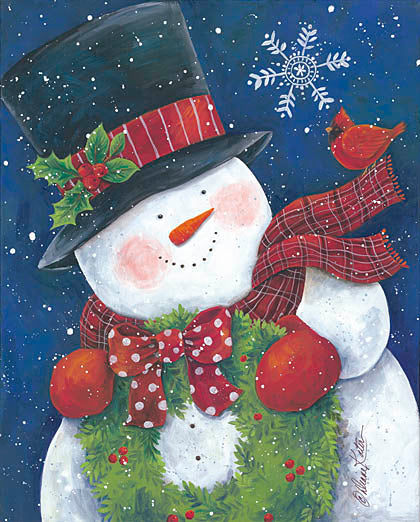 Diane Kater ART1031 - Cheery Snowman with Wreath - Snowman, Cardinal, Wreath, Top Hat, Scarf, Mittens, Holiday from Penny Lane Publishing
