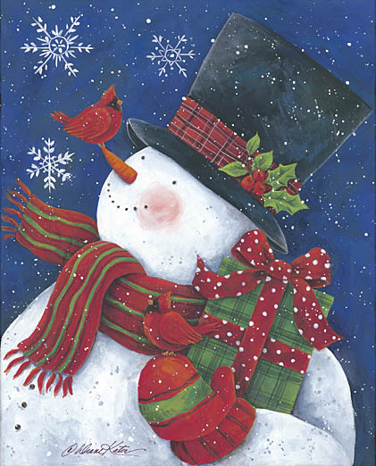 Diane Kater ART1032 - Cheery Snowman with Present - Snowman, Cardinal, Presents, Top Hat, Scarf, Mittens, Holiday from Penny Lane Publishing
