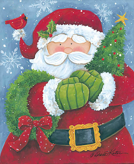 Diane Kater ART1033 - Cheery Santa with Wreath and Tree - Santa Claus, Christmas Tree, Holiday, Cardinals, Wreath, Holiday from Penny Lane Publishing