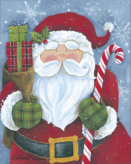 Diane Kater ART1034 - Cheery Santa with Candy Cane - Santa Claus, Candy Cane, Holiday, Presents, Holiday from Penny Lane Publishing