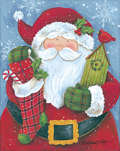 Diane Kater ART1035 - Cheery Santa with Birdhouse - Santa Claus, Stockings, Holiday, Cardinals, Birdhouse, Holiday from Penny Lane Publishing