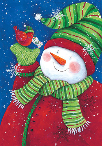 Diane Kater ART1038 - Red Bird Snowman - Snowman, Holiday, Bird from Penny Lane Publishing