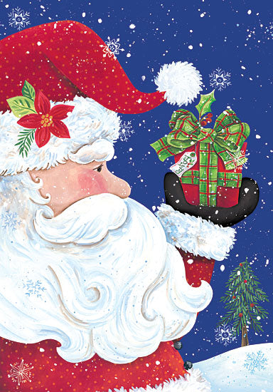 Diane Kater ART1041 - Jolly Santa Claus - Santa Claus, Presents, Holiday, Snow, Snow Flakes from Penny Lane Publishing