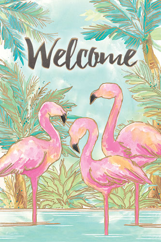 Diane Kater ART1045 - Welcome Flamingos - Flamingos, Welcome, Tropical, Coastal, Palm Trees from Penny Lane Publishing