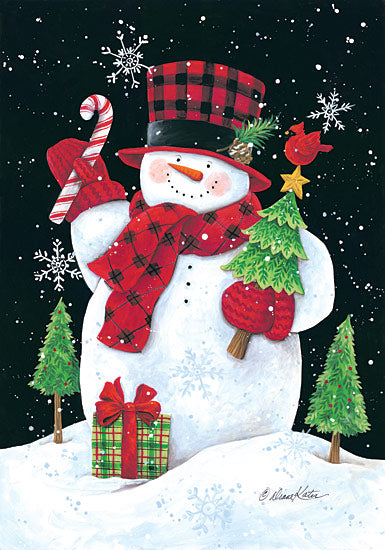 Diane Kater ART1046 - Plaid Top Hat Snowman - Snowman, Plaid, Snow, Holiday, Presents, Trees, Cardinal from Penny Lane Publishing