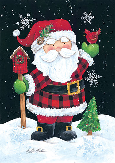 Diane Kater ART1048 - Plaid Santa - Santa, Plaid, Snow, Holiday, Birdhouse, Cardinal from Penny Lane Publishing