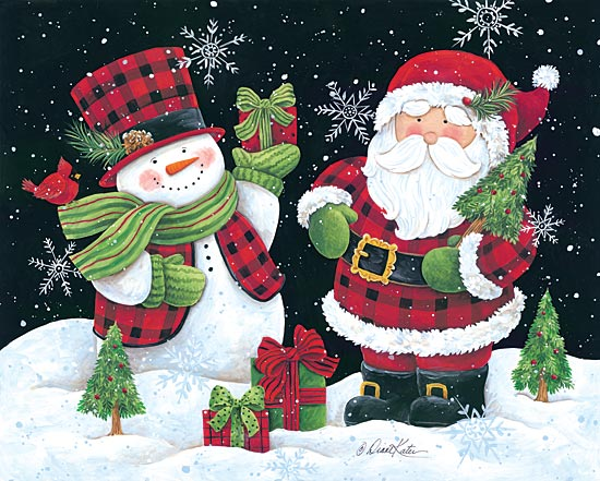 Diane Kater ART1050 - Plaid Snowman and Santa - Santa, Snowman, Plaid, Presents, Cardinals from Penny Lane Publishing