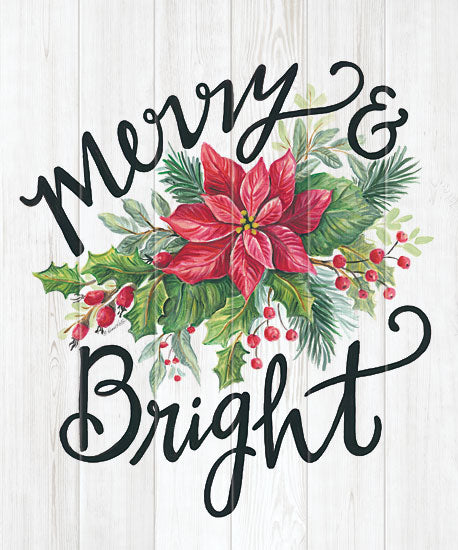 Diane Kater ART1164 - ART1164 - Merry & Bright Swag - 12x16 Signs, Typography, Merry & Bright, Poinsettias, Ivy, Wood Planks from Penny Lane