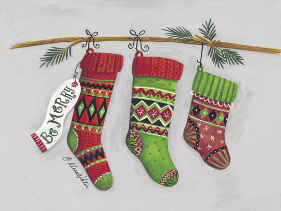 Diane Kater ART1193 - ART1193 - Be Merry Stockings  - 16x12 Holidays, Stockings, Holly, Knitted Stockings from Penny Lane