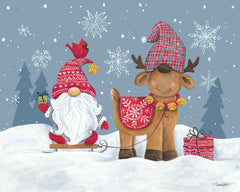 ART1205 - Snowy Gnome with Reindeer - 16x12