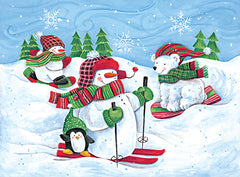 ART1237 - Skiing Snowmen and Animals - 16x12
