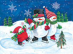 ART1238 - Happy Snowmen Family on Skates - 16x12