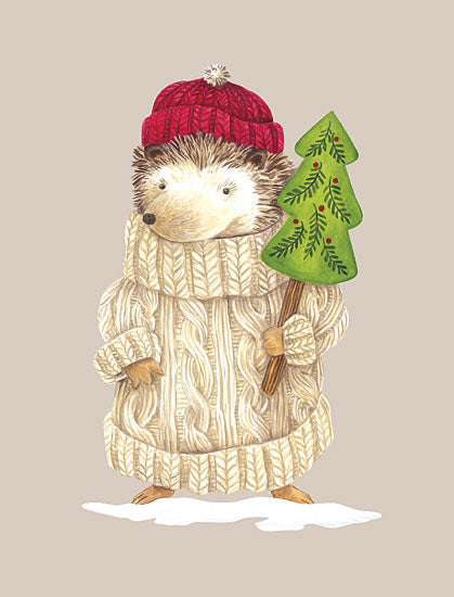 Diane Kater ART1248 - ART1248 - Hedgehog in Sweater - 12x16 Hedgehog, Whimsical, Winter, Tree, Animals in Sweaters, Animals from Penny Lane