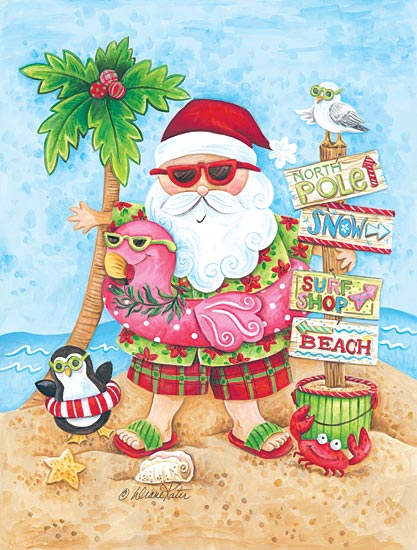 Diane Kater ART950 - Pink Flamingo Santa - Santa Claus, Beach, Sand, Penguin, Palm Tree, Coastal from Penny Lane Publishing