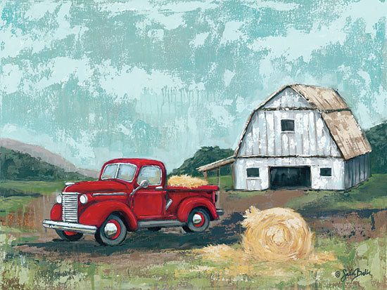 Sara Baker BAKE121 - BAKE121 - Red Truck at the Barn - 16x12 Truck, Hay Bale, Barn, Landscape from Penny Lane