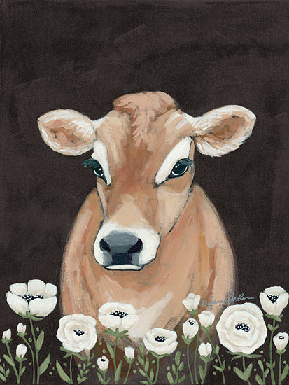 Sara Baker BAKE149 - BAKE149 - Cow With Flowers     - 12x16 Portrait, Cow, Flowers from Penny Lane