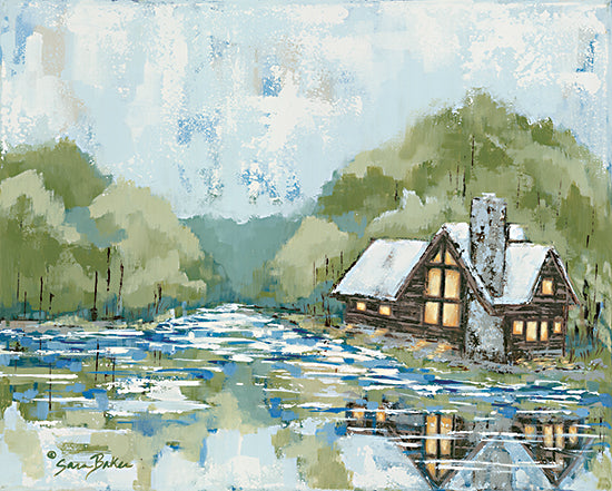 Sara Baker BAKE173 - BAKE173 - Adventure Lake - 16x12 Lake, Cabin, Log Cabin, Abstract, Trees, Landscape from Penny Lane