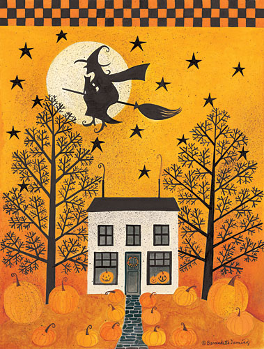 Bernadette Deming BER1216 - Halloween Ride - Witch, House, Trees, Moon from Penny Lane Publishing