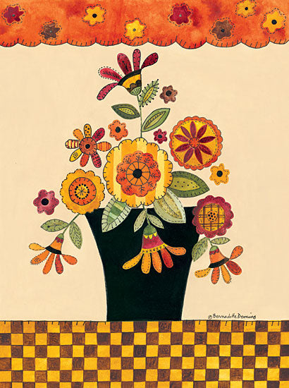 Bernadette Deming BER1222 - Fall Patterned Flowers - Patterned Flowers, Vase, Checkered Border from Penny Lane Publishing