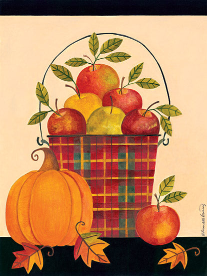 Bernadette Deming BER1224 - Apples in Plaid Pail - Plaid, Pail, Apples, Pumpkin, Leaves from Penny Lane Publishing