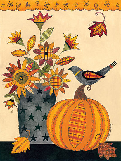 Bernadette Deming BER1225 - Stitched Pumpkin and Vase of Flowers - Vase, Bird, Pumpkin, Patterns, Flowers, Leaves from Penny Lane Publishing