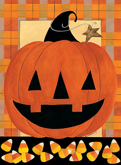 Bernadette Deming BER1372 - BER1372 - Candy Corn Jack O'lantern - 12x16 Candy Corn, Pumpkin, Jack O'lantern, Plaid, Star, Halloween from Penny Lane