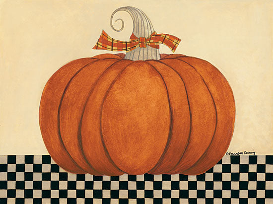 Bernadette Deming BER1376 - BER1376 - Russet Pumpkin - 16x12 Pumpkin, Halloween, Checkerboard Table, Plaid Bow from Penny Lane