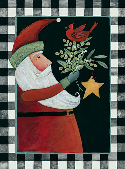 Bernadette Deming BER1406 - BER1406 - Santa Claus with Cardinal and Rusty Star - 12x16 Santa Claus, Christmas, Holidays, Rusty Star, Greenery, Cardinal from Penny Lane