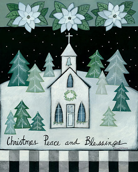 Bernadette Deming BER1409 - BER1409 - Christmas Peace and Blessings - 12x16 Holidays, Church, Trees, Snow, Flowers, Poinsettias, Peace and Blessings, Signs from Penny Lane
