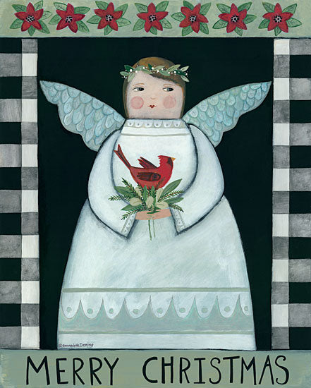 Bernadette Deming BER1410 - BER1410 - Merry Christmas Angel - 12x16 Holidays, Angel, Cardinal, Flowers, Religious from Penny Lane