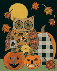 BER1414 - Floral Owl and Pumpkins - 12x16
