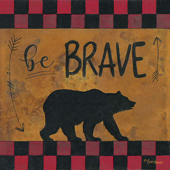 Britt Hallowell BHAR446 - Be Brave - Brave, Arrows,Bear, Plaid from Penny Lane Publishing