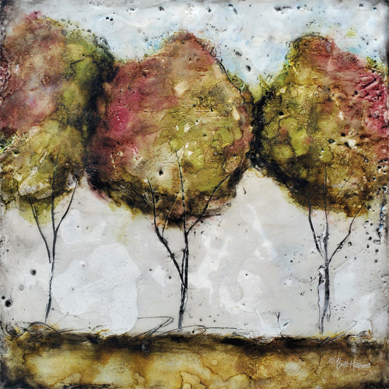 Britt Hallowell BHAR522 - BHAR522 - A Fall Stroll - 12x12 Abstract, Contemporary, Trees from Penny Lane