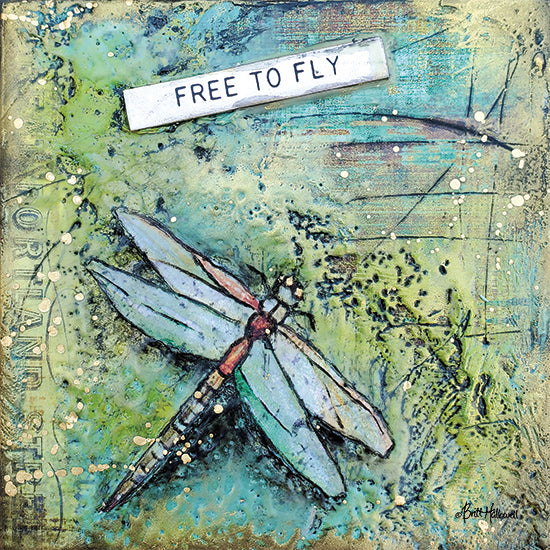 Britt Hallowell BHAR547 - BHAR547 - Free to Fly - 12x12 Abstract, Free to Fly, Dragonfly, Signs from Penny Lane