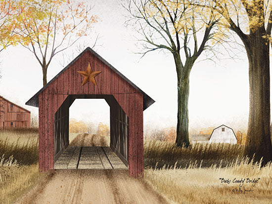 Billy Jacobs BJ1009A - Buck County Bridge - Bridge, Barn Star, Trees, Path, Barn, Countryside from Penny Lane Publishing