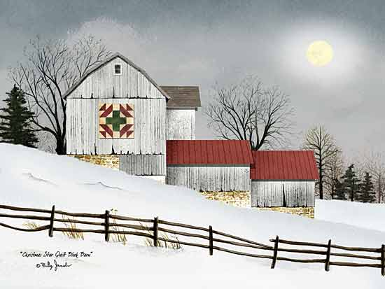 Billy Jacobs BJ1010 - Christmas Star Quilt Block Barn - Winter, Holiday, Snow, Barn, Quilt, Fence from Penny Lane Publishing