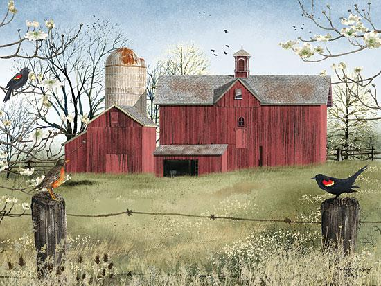 Billy Jacobs BJ1011 - Harbingers of Spring   - Barn, Birds, Fence, Landscape from Penny Lane Publishing