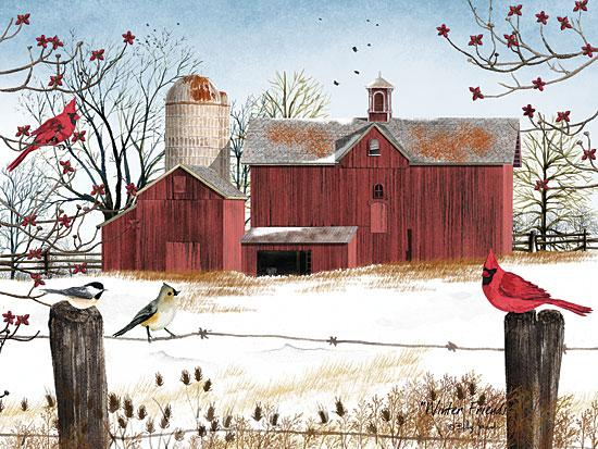 Billy Jacobs BJ1038 - Winter Friends - Winter, Birds, Cardinals, Barn, Snow, Thistle from Penny Lane Publishing
