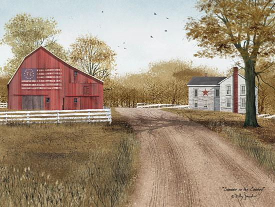 Billy Jacobs BJ1045 - Summer in the Country - American Flag, USA, Barn, Path, Road, Farm from Penny Lane Publishing