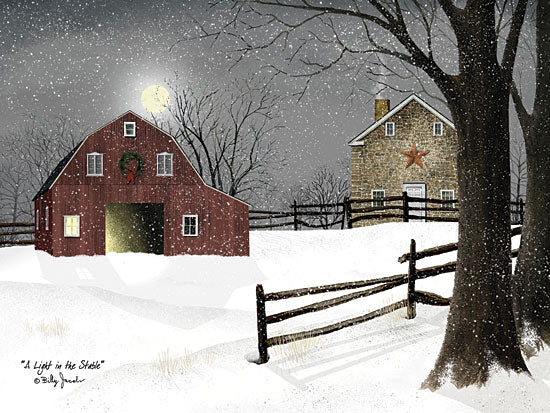 Billy Jacobs BJ1068 - Light in the Stable  - Winter, Snow, Barn, Farm, Fence, Tree from Penny Lane Publishing