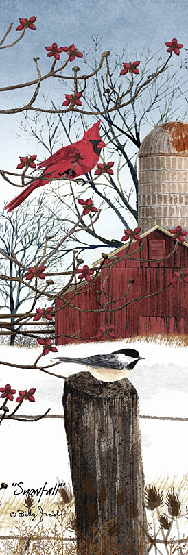 Billy Jacobs BJ1074C - BJ1074C - Snowfall - 12x36 Cardinals, Fence Post, Winter Snow, Barn, Farm, Birds from Penny Lane