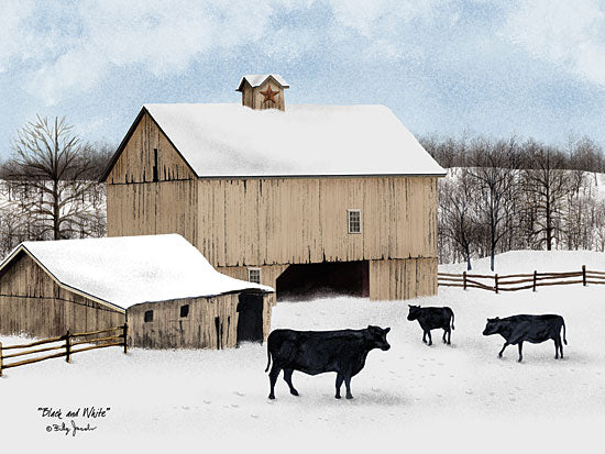 Billy Jacobs BJ1090 - Black & White - Cow, Snow, Winter, Barn, Farm from Penny Lane Publishing