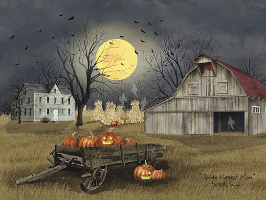 Billy Jacobs BJ1097A - Spooky Harvest Moon - Moon, Farm, Barn, Pumpkins, Wagon, Night, Autumn from Penny Lane Publishing