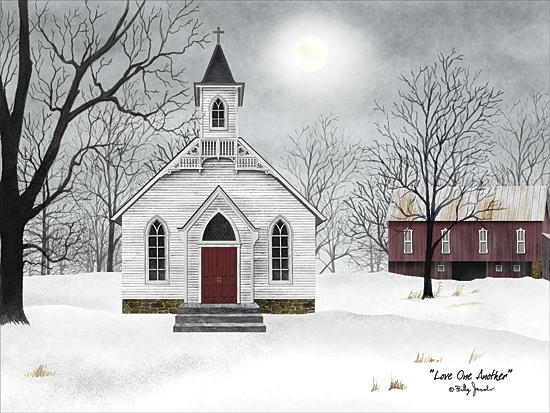 Billy Jacobs BJ1117 - Love One Another - Church, Barn, Snow, Winter, Landscape, Religious