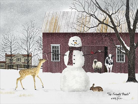 Billy Jacobs BJ1120 - The Friendly Beasts - Snowman, Snow, Barn, Animals, Landscape, Whimsical, Winter from Penny Lane Publishing