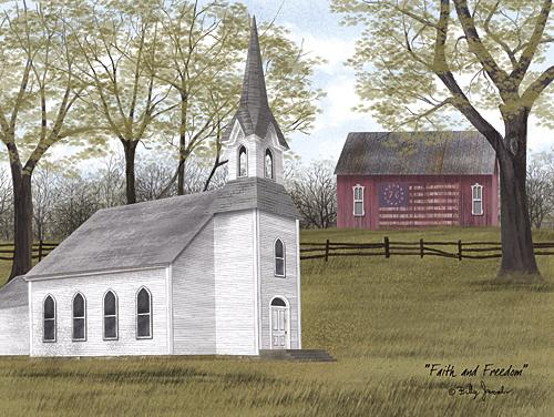 Billy Jacobs BJ1123 - Faith and Freedom - Church, Barn, Patriotic, Landscape, Religious from Penny Lane Publishing