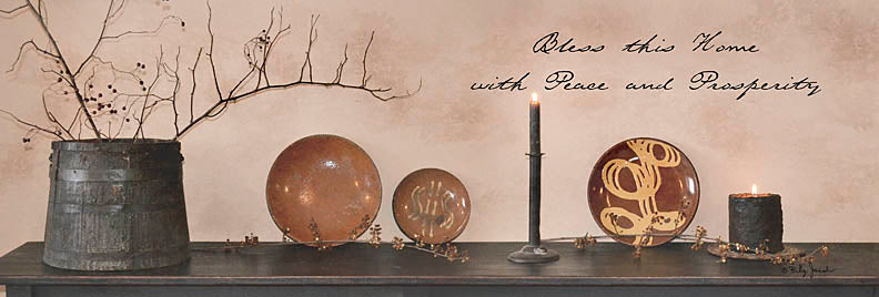 Billy Jacobs BJ1124 - Bless This Home with Peace and Prosperity - Shelf, Candles, Still Life, Berries, Inspiring from Penny Lane Publishing